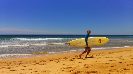 Solitary Surfer in Palm Beach - NSW Australia